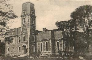 Waterville Maine~Awesome Mansard Roof @ Colby College 1910 B&W Postcard