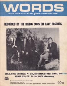 Words Bee Gees Rising Sons Taj Mahal South Africa 1960s Sheet Music