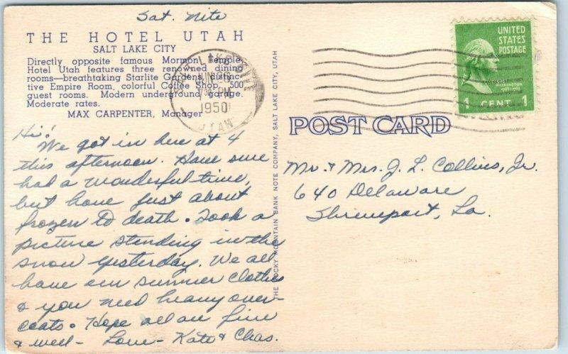 Salt Lake City, Utah Postcard HOTEL UTAH Crossroads of the West Curteich 1950
