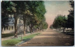 Galion, Ohio Postcard North Columbus Street House HAND-COLORED Albertype 1912