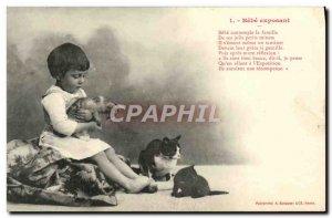 Old Postcard Fun Children Bebe exposing Cats Kittens