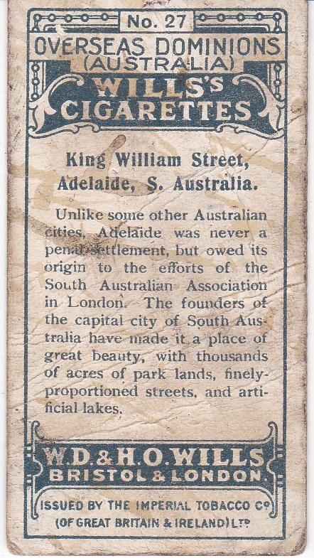 Cigarette Card Wills's  Overseas Dominions (Australia) No 27