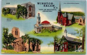 Winston-Salem North Carolina Postcard City of Beautiful Churches 5 Bldgs Linen