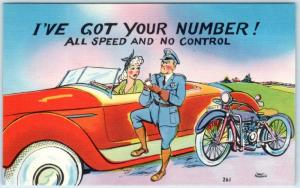RISQUE Sexy Blond Red Convertible MOTORCYCLE COP All Speed No Control Postcard