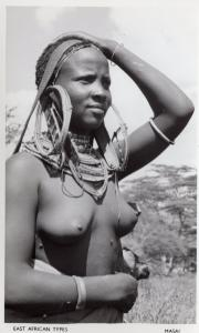 Masai Woman Risque East Africa Giant Jewellery Old Real Photo Postcard