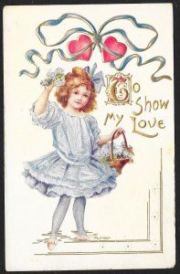 To Show My Love Girl In White Dress & Hearts Used c1910s