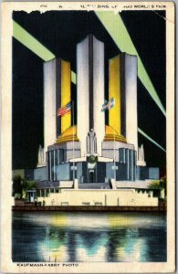 1934 Chicago World's Fair Postcard FEDERAL BUILDING *Damage on Front / Top