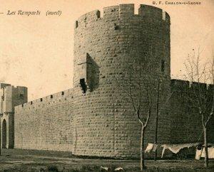 Vtg Carte Postale 1910s France Aigues Mortes Les Ramparts Château Tourelles