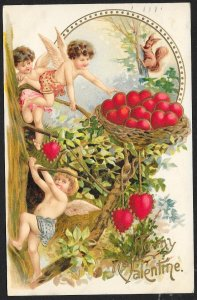 To My Valentine Cupids In Tree & Basket Of Hearts Used c1911