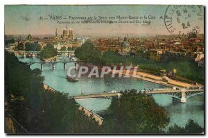 Old Postcard Panorama Paris on the Seine to Notre Dame and quotes