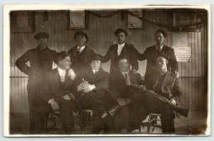 Real Photo Postcard~8 Young Men in Hall~Harvey on End~March 1913 Wall Calendar