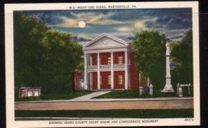 Virginia postcard Court House Martinsville night