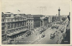 O'Connell Street and Nelson Pillar, Dublin, Ireland, Early Postcard, used