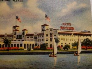 VTG Postcard Hotel Mayfair Sanford Florida Sailboats Linen St John's River  465