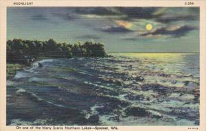 Wisconsin Spooner Moonlight Over Scenic Northern Lake Curteich