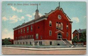 Belleville Illinois~St Peter's Catholic School~Stained Glass Windows~1908 PC