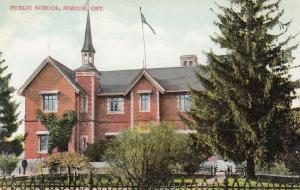 SIMCOE , Ontario, Canada, 1900-10s ; Public School, Ad for Fall's Store on back
