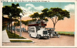 VINTAGE Postcard - Chicago IL New Auto Bus on Lake Shore Drive - POSTED