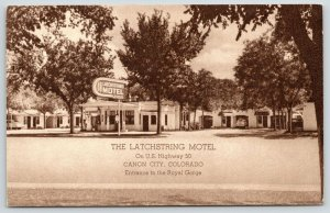 Canon City Colorado~Latchstring Motel~Gas Station in Front~Cars Parked~1950s