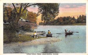 Jonesboro Maine Row Boat Waterfront Antique Postcard K7876392