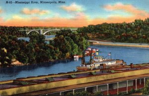 Minnesota Minneapolis View Of Mississippi River Showing Federal Barge Lines N...