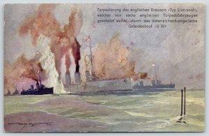 WWI Ship~Torpedoing English Cruiser Type Liverpool~U Boat~Artist Harry Heugger