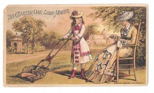 Victorian Trade Card Ladies Charter Oak Lawn Mower Fairbanks Co. Pittsburgh PA