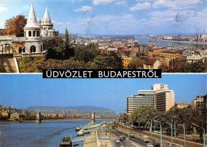 Hungary Greetings from Budapest Panoramic view River Bridges Auto Cars