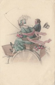 M.M. #839 : 1900-10s; Couple in cart with roses