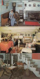 Toronto Pioneer Log Cabin Spinning Wheel Bedroom Bed Canada 3x Postcard s