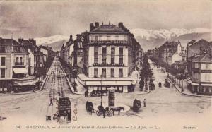 GRENOBLE, Avenues de la Gare et Alsace-Lorraine, Les Alpes, Isere, France, 00...