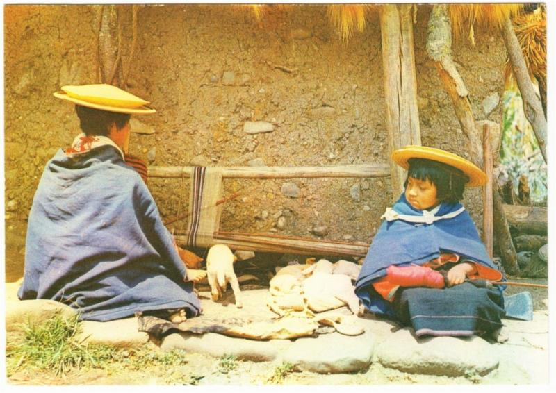 Colombia Guambiano Misak Indian Woman Weaving and Girl 1970s-1980s Postcard