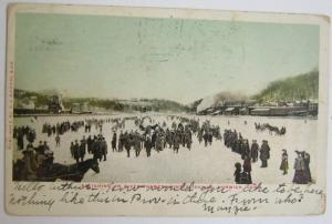 Sleighing On River Thames Winter 1903-4 Norwich CT
