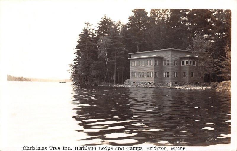 Bridgton Maine~Christmas Tree Inn~Highland Lodge & Camps~1940s Spaulding RPPC