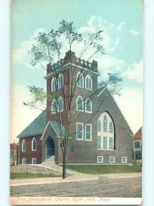 Unused Divided-Back CHURCH SCENE Hyde Park Massachusetts MA p5115