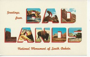 Postcard - SD - South Dakota Greetings Bad Lands National Monument Unposted
