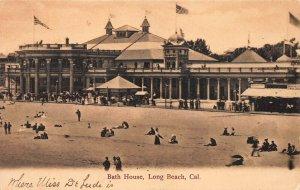 Bath House, Long Beach, California, very early postcard, unused