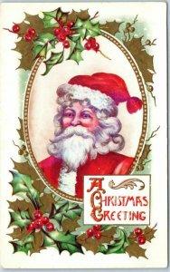 Vintage SANTA CLAUS Postcard Red Cap & Suit A Christmas Greeting c1910s