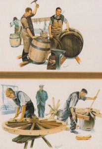 Beer Cider Making Barrel Barrels Barrelmaking Wheelwrights 2x Postcard s