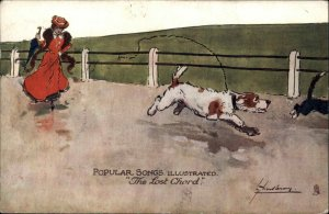 Woman Chasing Escaped Dog THE LOST CHORD Lance Thackeray TUCK Postcard