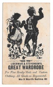 Victorian Trade Card Liberman & Stevensons NY Great Wardrobe Silhouette Dancers