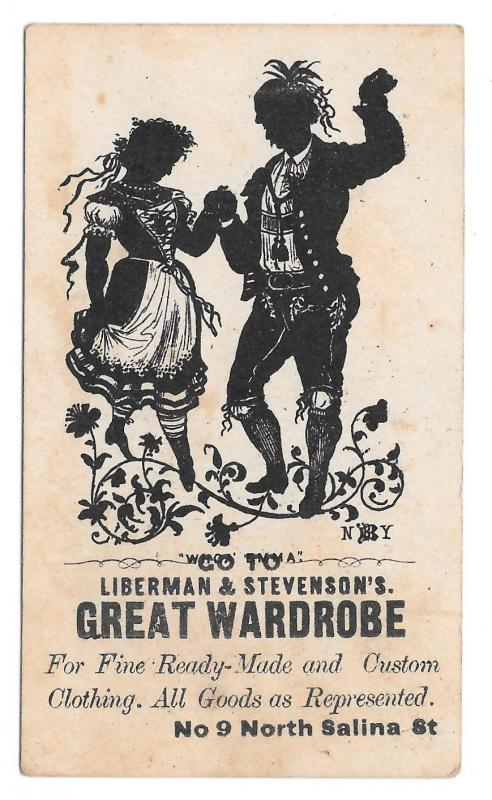 Victorian Trade Card Liberman & Stevensons NY Great Wardrobe Silhouette Dancers