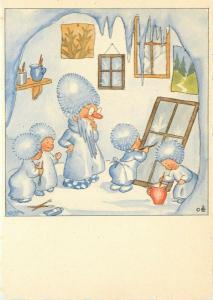 Vintage Fantasy Postcard 5592 A/S Bohatta-Morpurgo Ice Gnome Painting School