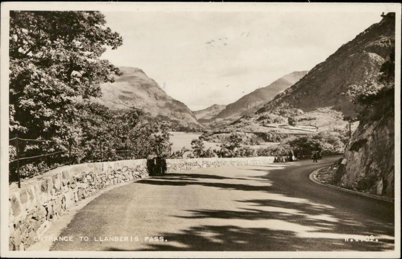 Entrance to Llanberis Pass Valentine's real photograph Summit of Snowdon