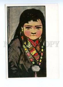 142321 CHINA ART Tibetan girl by Li Khuan-min Old postcard