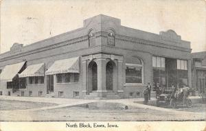 Essex IA~Folks Gather Around Guys New Car~Farmers Savings Bank~Furniture c1907
