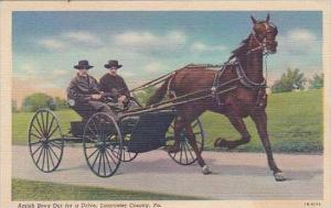 Pennsylvania Lancaster Amish Boys out For A Drive 1949
