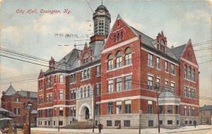 Covington Kentucky~City Hall~Man by Lamppost @ Street Corner~1907 Postcard