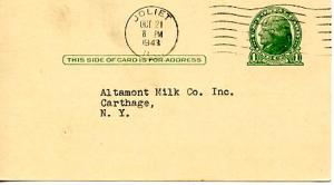 U. S. Postal Card - Gerlach-Barklow Co., Joliet, Illinois order acknowledgeme...