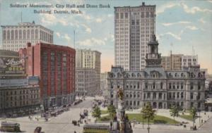 Michigan Detroit Soldiers Monument City Hall and Dime Bank 1914 Curteich